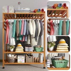 Wooden Clothes Rail Rack Garment Hanging Display Coat Storage Shelf Stand Wheels