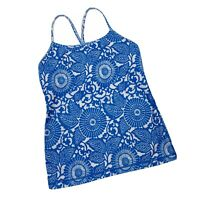 Lululemon Power Y Tank Top Beaming Blue Floral Blue And Cream Size 8