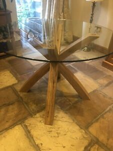 Next Plate Glass and oak Circular Table