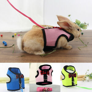 Pet Rabbit Vest Harness Mesh Lead Small Animal Cute With Leash Bunny Harnesses