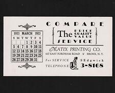 1933 Matix Printing Co. Advertising Calendar Blotter