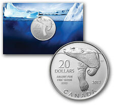 Canada 2012 $20 for $20 0.9999 pure Fine Silver Coin - Polar Bear