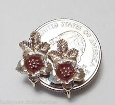 Vintage SARAH COVENTRY Clip Earrings, Signed, STRAWFLOWER, 1975, Dainty Flower