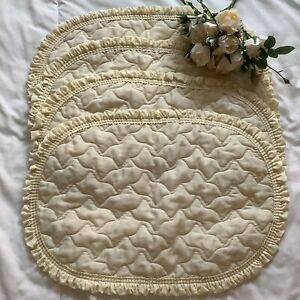"""4 Vintage thin soft cream quilted oval ruffle table place mats 13""""x19.5"""" cottage"""