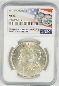 MS62 GRADED - 1921 Morgan Silver Dollar- NGC *578