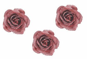 3 x Pink Rose Clip On Flower Decoration Fabric Sparkle Finish Christmas Flowers