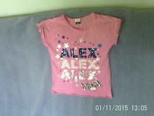 Girls 7-8 Years - Pink T-Shirt - Disney Wizards of Waverly Place Logo - Alex