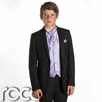 Boys Black Suit, Page Boy Suits, Prom Suits, Boys Wedding Suits, Lilac Waistcoat