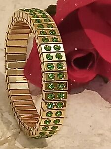 2ct Peridot Bracelet Gold 24K Swarovski Green Bangle Formal Jewelry Wife Gift HM