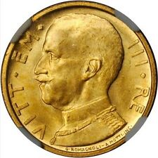 ITALY  1931-R  YR. X  50 LIRE GEM UNCIRCULATED GOLD COIN, NGC CERTIFIED NGC MS65