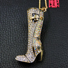 Women's Crystal White Enamel Boots Pendant Sweater Chain Betsey Johnson Necklace
