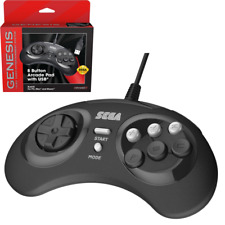 Retro-Bit Sega Genesis 8 Button USB Wired Game Controller Black for PC / Mac