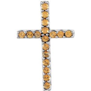 Genuine Honey Topaz Petite Cross Pendant In Platinum