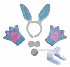 Easter Blue Bunny Rabbit Headband Bow Tail Paw Shoes 5p Child Kids Party Costume