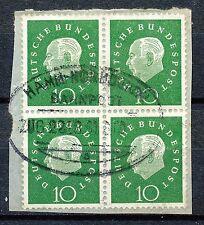Bundespost  303 gebruikt blok van 4 (1) met Bahnpost stempel