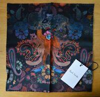 PAUL SMITH 100% silk Monkey paisley animal pocket square handkerchief