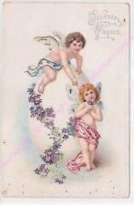 CPA FANTAISIE Joyeuse Pâques 2 anges garçon et fille guirlande fleurs ca1908