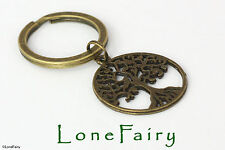 Antique Bronze Plated Tree of Life Keyring Nature Gardener Key Chain