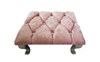 Crushed Velvet Baby Pink Chesterfield Footstool Square Diamante Queen Anne Legs