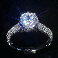 White Gold Plate Lab Diamond 2 Carat Women Ring Made With Swarovski Crystal R167