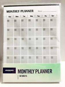 J.Burrows Monthly Planner 50 Sheet Pastel
