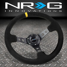 "NRG REINFORCED 350MM 3""DEEP DISH STEERING WHEEL BLACK SUEDE YELLOW CENTER STRIPE"