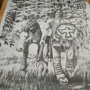"""Tri-Chem Chart 8955 walking his horse native American with horse 18""""x24"""""""