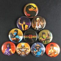 "Mortal Kombat 2 1"" Button Pin Set Sega Nintendo Arcade Violent Ninja Game"