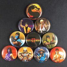 "Mortal Kombat 2 1"" Button Pin Set Sega Nintendo Arcade Violent Ninja Game"