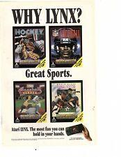 1993 Atari Lynx spoerts hockey football baseball  Game System Print Ad (hk1