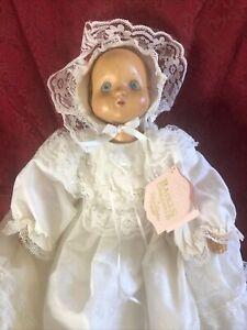 "1989 Robert Raikes Originals ""Juliet"" Wood Christening Doll In Basket"