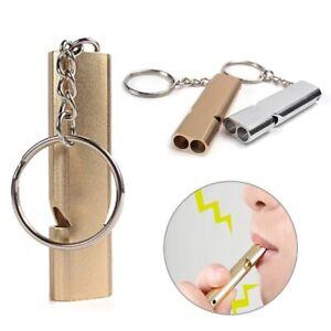 1 PCS Rnadom Color Dual-tube Portable Aluminum Safety Whistle For Pets