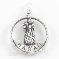 Sterling Silver Hawaii Charm PINEAPPLE ALOHA HAWAIIAN Pendant .925 925 2 sides