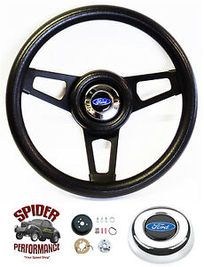 "1978-1991 Bronco Ford F-Series steering wheel BLUE OVAL 13 3/4"" BLACK SPOKE"