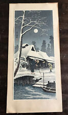 Vintage Hiroaki Takahashi Shotei Japanese Woodblock Snowy Night Hazy Moon