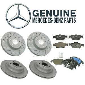 For Mercedes W212 E350 E400 Front & Rear Disc Brake Rotors & Pads Kit Genuine