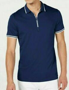 Men's SZ XL Armani Exchange Blue Quarter-Zip A|X Logo SS Polo Shirt NWT