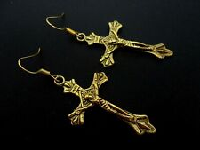 A PAIR OF GOLD COLOUR DANGLY CROSS CRUCIFIX  EARRINGS.  NEW.