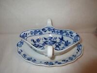 Antique Meissen Porcelain Gravy Boat & Underplate - Blue Onion Pattern