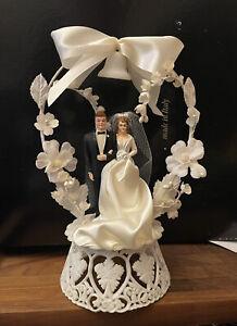 Vintage 1959 Bride & Groom Wedding Cake Topper Hand Painted