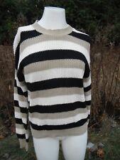 VINTAGE 1980's DIANE VON FURSTENBERG classic striped cotton blend sweater Med.