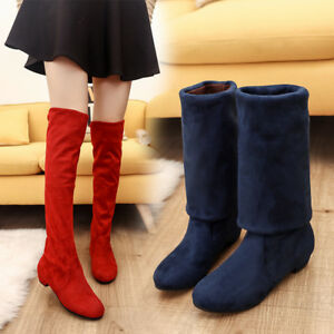 Women Winter Flat Bottom Shoes Over The Knee Thigh High Suede Long Boots Fashion