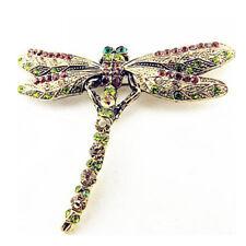 Elegant Women Rhinestone Dragonfly Enamel Insect Brooch Pin Fashion Jewelry