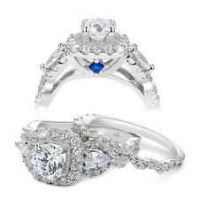2.4ct Round Pear White Cz 925 Sterling Silver Wedding Engagement Ring Set Size 7