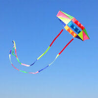 Mint's Colorful Life Large Rainbow Box Kite for Adults with 49 Feet Long Tail x2