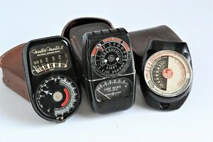 Lot of 3 Vintage Exposure / Light Meters Weston II, GE 8DW58Y4, Dejur 40, Cases!