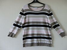 "A SMART MULTICOLOURED STRIPED ""COUNTRY CASUALS "" TOP SIZE LARGE."