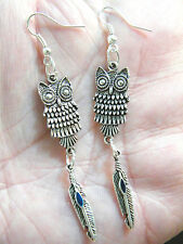 """1 OWL Earrings & Feather & Blue Inlay Tibet Silver 3"""" Long Silver Plate Wire NEW"""