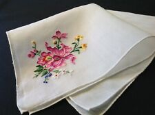 #5005🌟Vintage Petit Point Embroidery Purple Orchids Handkerchief