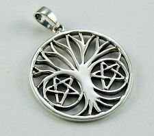 **BEAUTIFUL 925 SOLID SILVER TREE OF LIFE WITH PENTAGRAMS PENDANT**